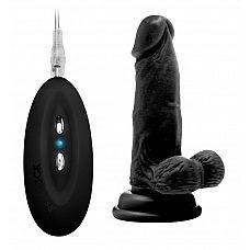 Чёрный вибратор-реалистик Vibrating Realistic Cock 6  With Scrotum - 15 см.  Чёрный вибратор-реалистик Vibrating Realistic Cock 6  With Scrotum.
