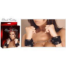 Чёрные наручники на цепочке с карабином Handfesseln   Чёрные наручники на цепочке с карабином Handfesseln.