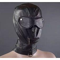 Шлем с шорами, молнией для рта и ошейником  Надевший этот шлем не сможет ни видеть, ни говорить без разрешения, поскольку девайс снабжен шорами и молнией в районе рта.
