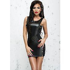 Облегающее платье Lea с эффектом мокрого блеска  Эротическое платье черного цвета, выполненное из материала с wet-эффектом и эластичных лент, поможет Вам создать образ деловой соблазнительницы.