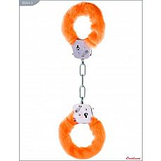 Металлические наручники с оранжевым мехом  Металлические наручники, изготовленные из высококачественной стали.
