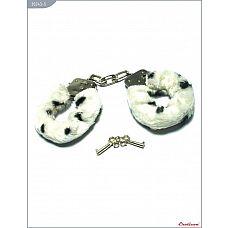 Металлические наручники с бело-чёрным мехом  Металлические наручники, изготовленные из высококачественной стали.