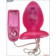 Розовая вибропробка с выносным пультом - 11 см.  Нежная пробка с вибрацией.