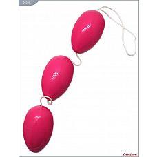 Розовые анально-вагинальные шарики  Тройные овальные шарики для тренировки интимных мышц.