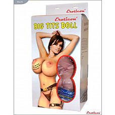 Надувная секс-кукла «Блондинка» с реалистичной вставкой и вибрацией  Кукла «Блондинка», 2 виброотверстия, EROTICON^ BIG TITS DOLL.