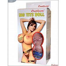 Надувная секс-кукла «Брюнетка» с реалистичной вставкой и вибрацией  Кукла «Брюнетка», 2 виброотверстия, EROTICON^ BIG TITS DOLL.