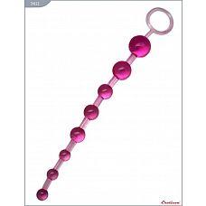 Розовая анальная цепочка с ручкой - 30 см.  Анальная цепочка на упругой связке из восьми шариков разного диаметра.