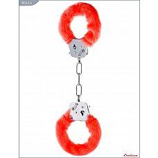 Металлические наручники с красным мехом  Наручники с мехом, красные.