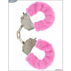 Металлические наручники с розовым мехом  Наручники с мехом, розовые.