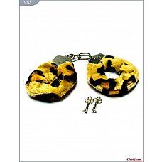 Металлические наручники с мехом тигровой расцветки  Наручники с мехом, тигровые.