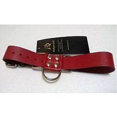 Широкие красные ременные наручники с полукольцом  Ременная полоса из красной натуральной кожи с полукольцом в виде «восьмерки», с подвижной фиксацией.