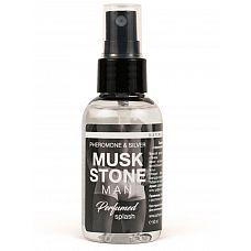 Мужской парфюмированный спрей для нижнего белья Musk Stone - 50 мл.  Парфюмированный спрей  с феромонами и ионами серебра Musk Stone  для мужчин.