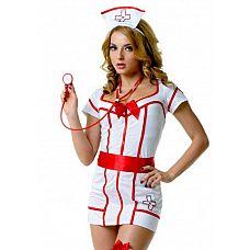 """Костюм доктор Сьюзи M/L 02896M/L  """"Костюм состоит из:  платья  головного убора  пояса  стетоскопа  чулок  Облегающее короткое платье в красно-белом окрасе подчеркивает всю женскую фигуру."""