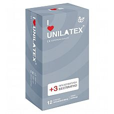 Презервативы с рёбрами Unilatex Ribbed - 12 шт. + 3 шт. в подарок  Презервативы из натурального латекса телесного цвета, с рифленой поверхностью, покрыты силиконовой смазкой с нейтральным ароматом.