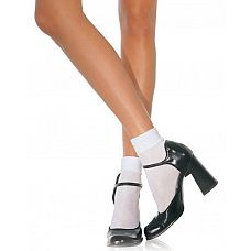 Белые полупрозрачные носочки SATIN CUFF ANKLETS  Белые полупрозрачные носочки SATIN CUFF ANKLETS.
