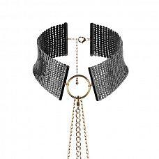 Чёрный ошейник с цепочками Desir Metallique Collar  Роскошное украшение, которое стоит надеть не только для эротической игры! Представьте, что оно на вас, когда вы надеваете рубашку с глубоким декольте.