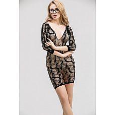 Ажурное эротическое платье с рукавами длиной 3/4  Ажурное эротическое платье с рукавами 3/4.