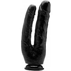 Чёрный анально-вагинальный фаллоимитатор Realistic Double Cock 10 Inch - 25,5 см.  Дважды весело, значит, в два раза больше удовольствия с этим RealRock! Этот донг был разработан для введения во влагалище и анус одновременно.
