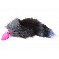 Розовая силиконовая анальная пробка с чёрным хвостом размера L - 9,2 см.  Розовая силиконовая анальная пробка с чёрным хвостом размера L.