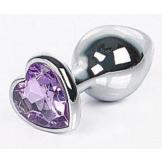 Серебристая анальная пробка с сиреневым кристаллом-сердцем размера L - 9,5 см.  Серебристая анальная пробка с сиреневым кристаллом-сердцем размера L.