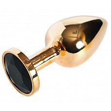 Золотистая анальная пробка с чёрным кристаллом размера L - 9 см.  Золотистая анальная пробка с чёрным кристаллом размера L.
