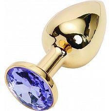 Золотистая анальная пробка с сиреневым кристаллом размера L - 9 см.  Золотистая анальная пробка с сиреневым кристаллом размера L.
