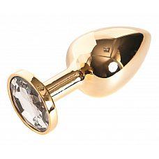Золотистая анальная пробка с прозрачным кристаллом размера L - 9 см.  Золотистая анальная пробка с прозрачным кристаллом размера L.