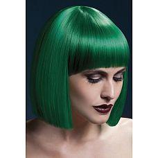 Зеленый парик со стрижкой прямой боб  Зеленый парик со стрижкой прямой боб.