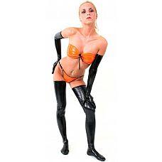 Чёрные латексные высокие перчатки  Хотите новых ощущений   попробуйте латексную одежду в БДСМ играх! Перчатки изготовлены из бесшовного латекса толщиной 0,35 мм.
