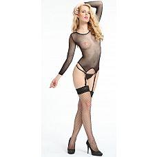 Топ с длинными рукавами и пажами для чулок   Топ в виде тоненькой и почти прозрачной сеточки с длинными рукавами.