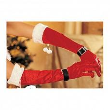 Перчатки бархатные новогодние  Перчатки длинные из искусственного бархата с опушкой и помпонами из искусственного меха.
