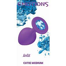 Анальная пробка Emotions Cutie Medium Purple light blue crystal 4012-05Lola