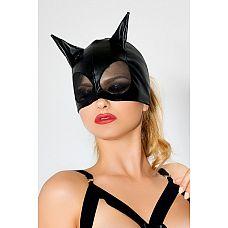 Чёрная маска с ушками и сеткой  Очень сексуальная, интригующая черная маска кошечки выполнена из материала wetlook.