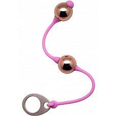 Золотистые шарики Golden Balls на розовом силиконовом шнурке  Почувствуйте провокационное прикосновение Golden Balls, глубину и трепет! Они чувственно перемещаются внутри, работая с Вашим телом, улучшая мышечный тонус и повышая интенсивность оргазма.