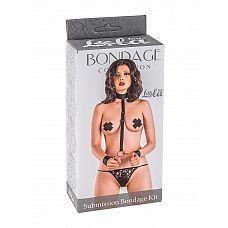 Ошейник с длинной лентой и отстегивающимися наручниками Submission Bondage Kit  One size 1059-01lola