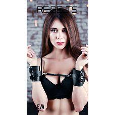 Чёрные кожаные наручники Eva Black  Чёрные кожаные наручники Eva Black.