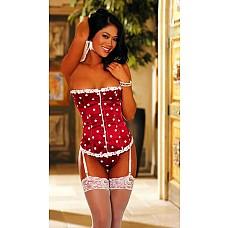 Прелестный корсет в горошек  Красный корсет -бюстье без бретелек выполнен из атласа с белым принтом в горошек, украшен венецианским кружевом.