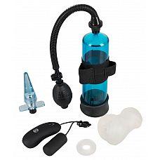 Набор мужских игрушек PowerBox  Набор мужских игрушек PowerBox включает в себя: синий прозрачный насос со съемной 7-скоростной вибропулькой с проводным пультом управления, мастурбатор-вагину, анальную вибропробку и эрекционное кольцо.
