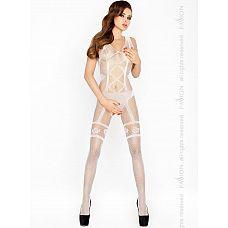 Изысканный костюм-сетка с имитацией комплекта нижнего белья  Эротический костюм-сетка имитиреует сексуальное боди с пажами для чулок.