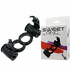 Чёрное двойное эрекционное кольцо с 2 виброэлементами  Дополнительные ощущения для обоих партнеров во время секса! Двойное эрекционное виброкольцо Baile Sweet Ring   самый простой способ продлить половой акт и усилить ощущения.