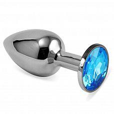 Серебристая анальная пробка с голубым кристаллом размера L - 9 см.  Серебристая анальная пробка с голубым кристаллом размера L.