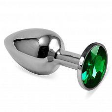 Серебристая анальная пробка с зеленым кристаллом размера L - 9 см.  Серебристая анальная пробка с зеленым кристаллом размера L.