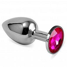 Серебристая анальная пробка с ярко-розовым кристаллом размера L - 9 см.  Серебристая анальная пробка с ярко-розовым кристаллом размера L.