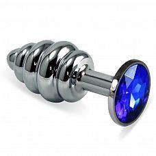 Серебристая ребристая пробка с синим кристаллом размера M - 8,5 см.  Серебристая ребристая пробка с синим кристаллом размера M.