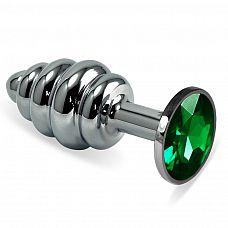 Серебристая ребристая пробка с зелёным кристаллом размера M - 8,5 см.  Серебристая ребристая пробка с зелёным кристаллом размера M.