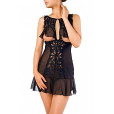Изысканная сорочка с открытой грудью  Комбинация из эластичной сетки со вставками кружева.