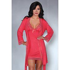 Женственный ночной комплект Luisanna  Женственный комплект из вискозы: сорочка на тонких бретелях, пеньюар и трусики.