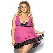 Эффектная сорочка Carinola  Полупрозрачная розовая сорочка с контрастными черными вставками, чашка мягкая без косточки, бретели регулируются по длине, застежка крючки.