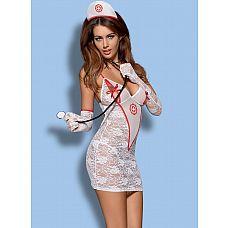 Кружевной костюм медсестры Medica  Сексуальный комплект медсестры: платье, трусики, перчатки, стетоскоп и головной убор.