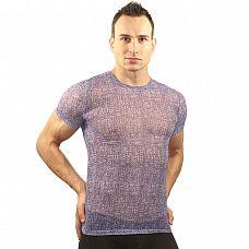 Фиолетовая облегающая футболка с рисунком-ячейками  Фиолетовая облегающая футболка с рисунком-ячейками.